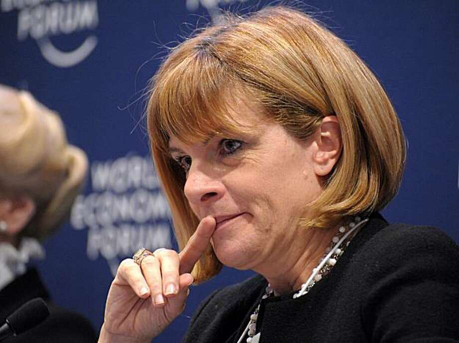 "French nuclear giant Areva Chief Executive Anne Lauvergeon listens while attending the session ""Managing the Growth of Nuclear Power"" at the World Economic Forum on January 29, 2010 in Davos. The World Economic Forum is attended by 2,500 top politicians,captains of industries and civil society leaders. Photo: Eric Piermont, AFP/Getty Images"