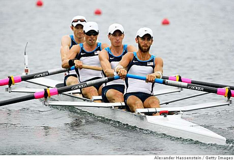 BEIJING - AUGUST 10:  (L-R) Mike Altman, Patrick Todd, Will Daly and Tom Paradiso of USA compete in the Lightweight Men's Four Heat 2 at the Shunyi Olympic Rowing-Canoeing Park during Day 2 of the Beijing 2008 Olympic Games on August 10, 2008 in Beijing, China.  (Photo by Alexander Hassenstein/Bongarts/Getty Images) Photo: Bongarts/Getty Images