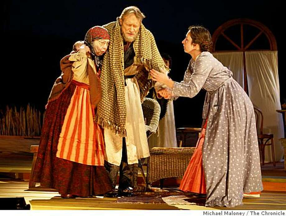 "From left, Barbara Oliver (Marina), James Carpenter (Alexander Serebryakov) and Annie Purcell (Sonya) during final dress rehearsal for California Shakespeare Theater's ""Uncle Vanya,""  at the Bruns Amphitheater in Orinda, Calif., on August 5, 2008. Photo: Michael Maloney, The Chronicle"