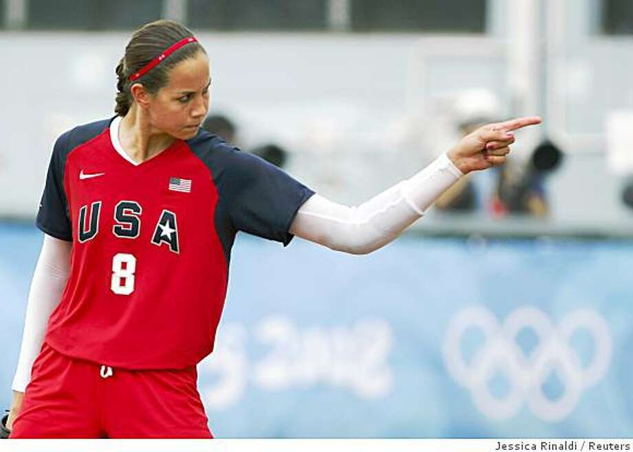 Pitcher Cat Osterman reacts after striking out an Australian batter during their softball game at the Beijing 2008 Olympic Games August 13, 2008. Photo: Jessica Rinaldi, Reuters
