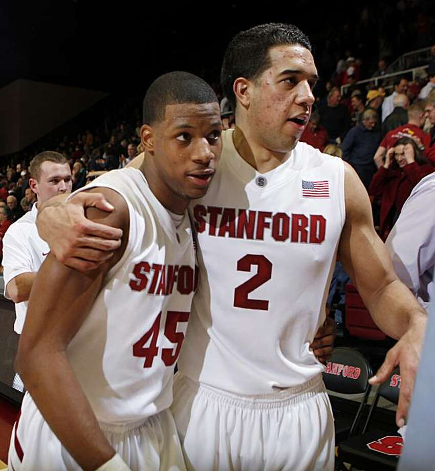 Stanford guard Jeremy Green (45) is hugged by guard Landry Fields (2) after Green scored the winning basket to defeat Washington State 60-58 in an NCAA college basketball game in Stanford, Calif., Thursday, Feb. 11, 2010. Photo: Paul Sakuma, AP