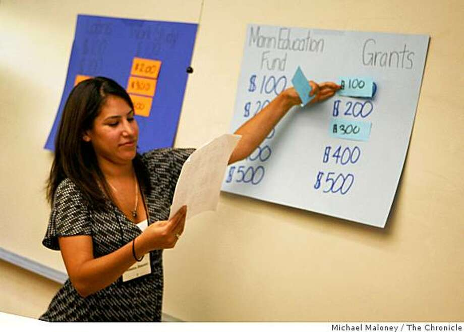 "Monica Jimenez leads a game of ""Financial Aid Jeopardy!"" at Dominican University in San Rafael, Calif., on August 5, 2008. Jimenez and co-teacher Steven Mason (not pictured) hosted the game to low income Marin County high school seniors through a financial aid workshop put on by the Marin Education Fund. The questions and answers in the game all pertained to financial aid issue they were learning. As the economy has taken a steep downturn, colleges and universities around the Bay Area and the nation are seeing an increase in need for financial aid. Photo: Michael Maloney, The Chronicle"