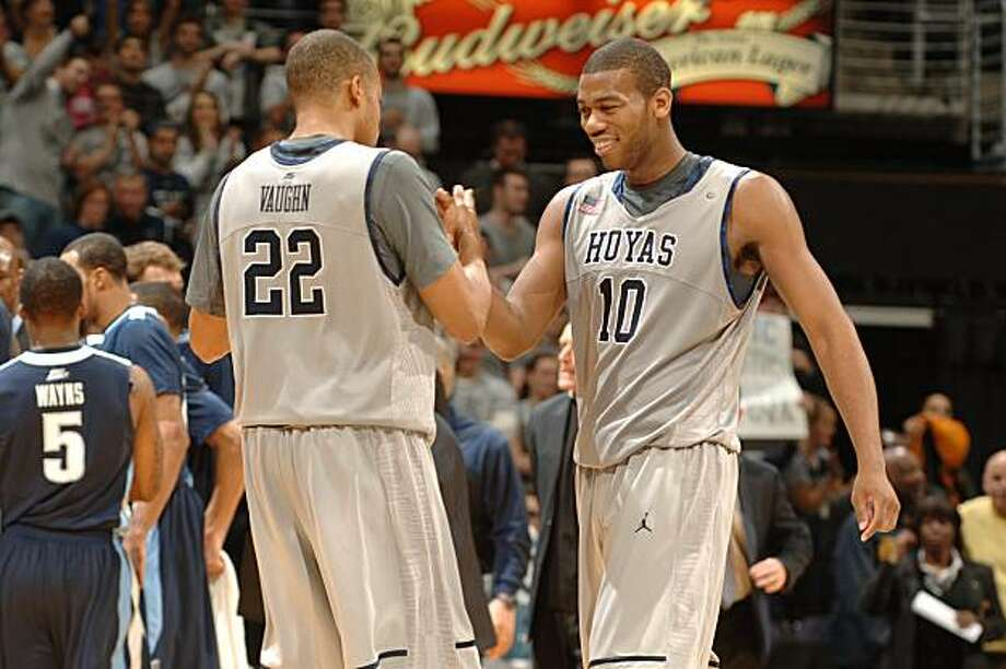WASHINGTON - FEBRUARY 06:  Greg Monroe #10 and Julian Vaughn #22 of the Georgetown Hoyas celebrate a win during a college basketball game against the Villanova  Wildcats on February 6, 2010 at the Verizon Center in Washington DC. Photo: Mitchell Layton, Getty Images