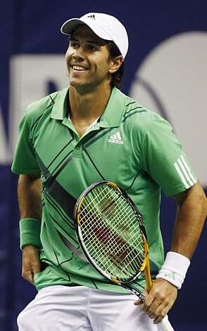Fernando Verdasco, of Spain, smiles near the end of the second-set tiebreaker against Pete Sampras in an exhibition tennis match at the SAP Open on Monday, Feb. 8, 2010, in San Jose, Calif. Vaerdasco won 6-3, 7-6 (2). Photo: George Nikitin, AP