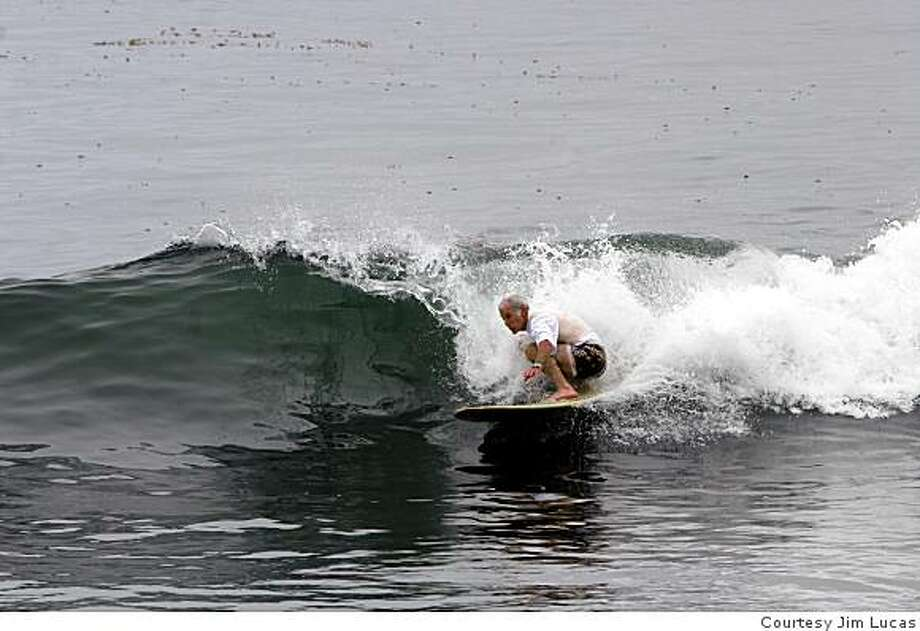 Jim Lucas of Santa Cruz goes surfing to beat the heat in the Bay Area. Photo: Courtesy Jim Lucas