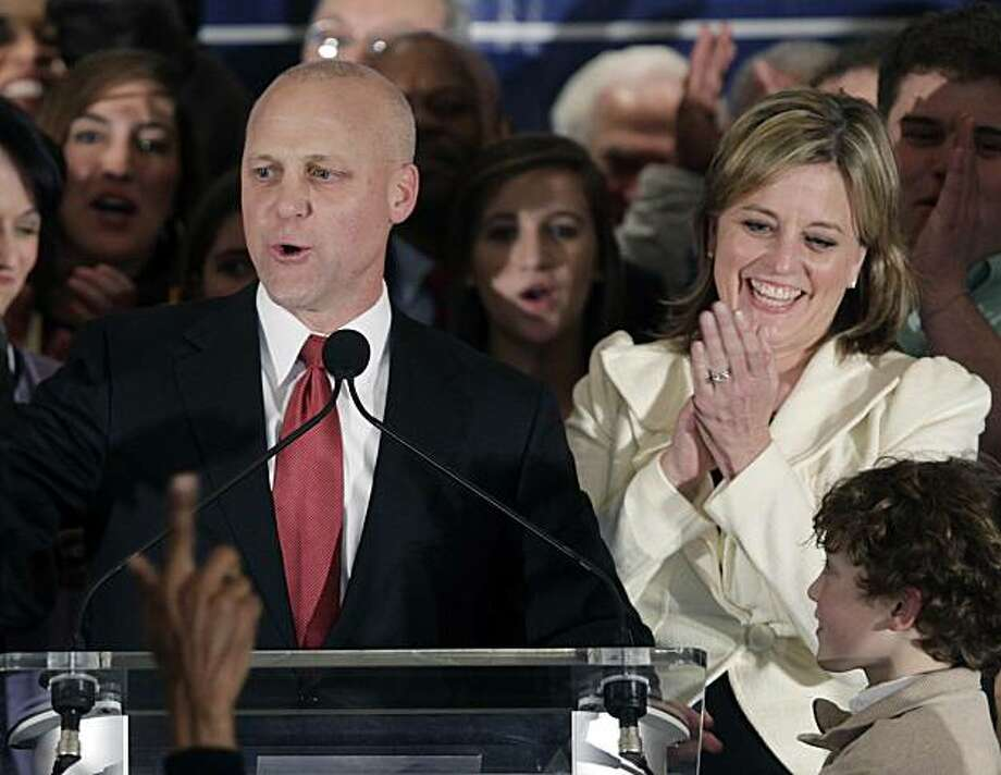New Orleans Democratic candidate Lt. Gov. Mitch Landrieu address supporters at his election night headquarters as his wife Cheryl applauds in New Orleans,  Saturday, Feb. 6, 2010.  Landrieu was elected mayor of New Orleans. Photo: Bill Haber, AP