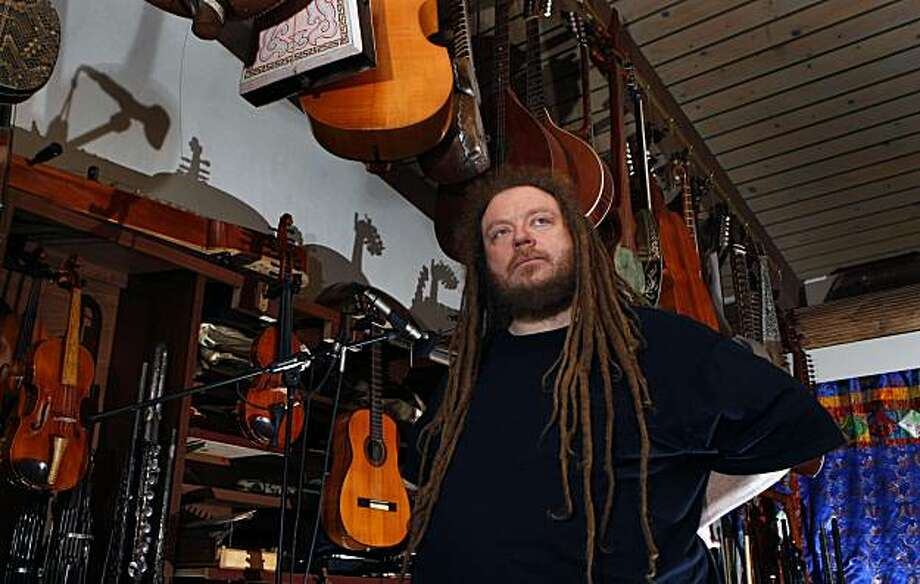 "Jaron Lanier, a Berkeley academic who recently published ""You Are Not a Gadget"" a manifesto against the way technology is making us less human, relaxes in his music room at home on Thursday Jan. 21, 2009 in Berkeley, Calif. Photo: Lance Iversen, The Chronicle"