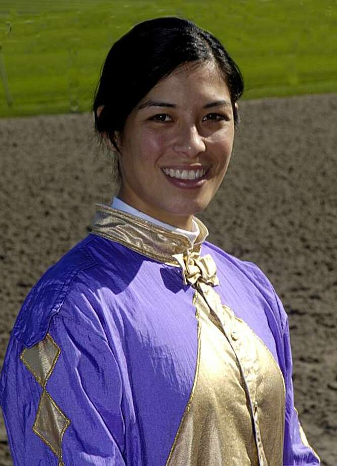 Kayla Stra, jockey at Golden Gate Fields, Hayward, 2009. Photo: Bill Vassar & Marcel Langevin, Vassar Photography 2009