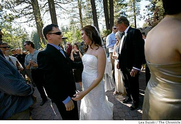 Matt Callison (left) congratulates Carrie Shellhammer (right) after her wedding to Zachary Chown at The Lodge at Tahoe Donner in Truckee, Calif. on Saturday, August 9, 2008. Matt and Carrie were both the recipients of donor organs from Joel Hanson on December 29, 2003 at UCSF. Hanson a 16-year old from Clayton, was killed in a negligent shooting at a friends house on December 27, 2003, Photo: Lea Suzuki, The Chronicle