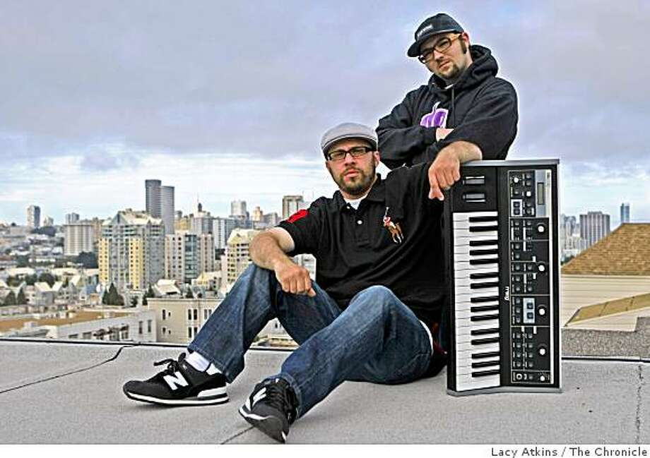 "Josh Goldstein, ""Boas"" , left and Patrick Sexton, "" Dnae Beats"" of Machete Voxs' Sneak Preview  hip-hop group pose of r a photograph, Tuesday Aug. 5, 2008, in San Francisco, Calif. Photo: Lacy Atkins, The Chronicle"