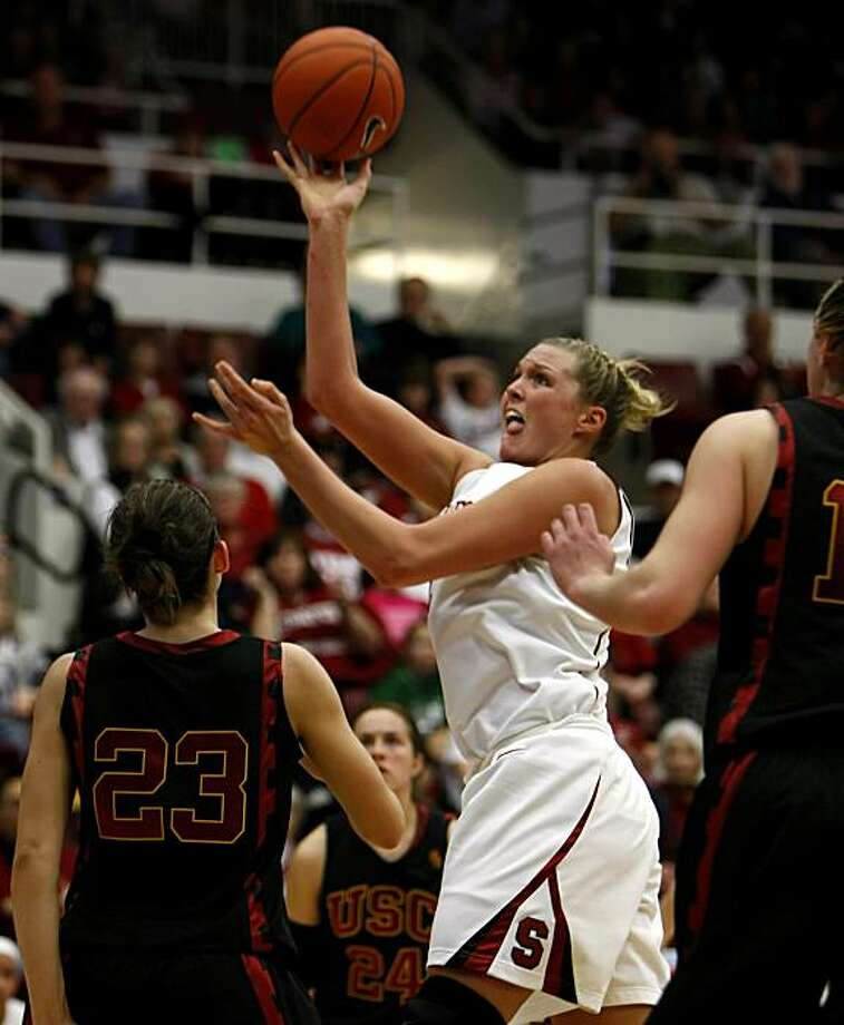Stanford Cardinal Jayne Appel jumps over USC defense for a basket in the second half of the game, Sunday Feb. 7, 2010, in Stanford, Calif. Stanford defeated USC 77-39  and is in first place of the Pac 10. Photo: Lacy Atkins, The Chronicle