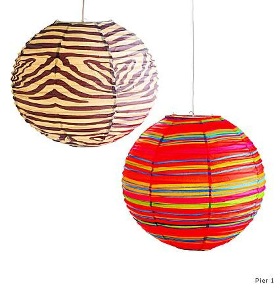 Pier 1's 16-inch lanterns retail at $6.50 in zebra or striped patterns. Photo: Pier 1