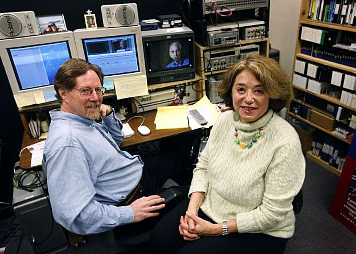 Filmmakers Rick Goldsmith and Judith Ehrich are seen in their editing room in Berkeley, Calif., on Tuesday, Jan. 26, 2010. Their documentary film,