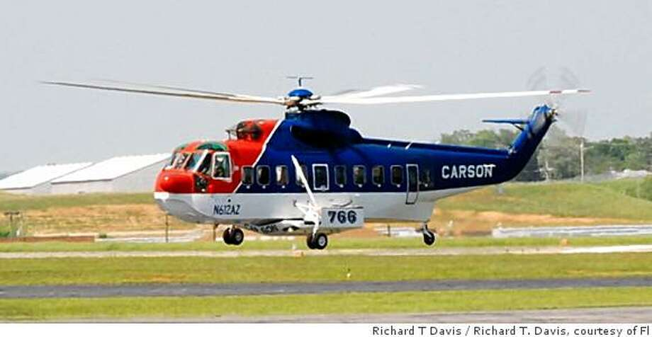 A Sikorsky S-61N lands in Danville Va. on May 2, 2008 to refuel. This helicopter crashed Aug. 5, 2008, in Northern California with 9 presumed fatals and 4 critical. Photo: Richard T Davis, Richard T. Davis, Courtesy Of Fl