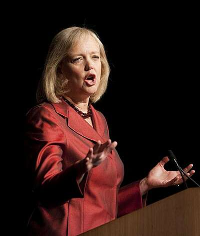 Former eBay chief executive Meg Whitman gives a speech during the California Republican Convention in Indian Wells, Calif., on Saturday, Sept. 26, 2009. Whitman is seeking the Republican nomination for Governor of California. (AP Photo/Francis Specker) Photo: Francis Specker, AP