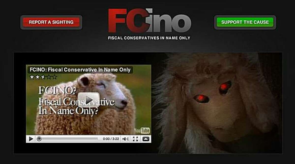 A screen grab of the advertisement released by Senate candidate Carly Fiorina, which features visuals of a man in a sheep costume with a flock of sheep and calls Republican rival Tom Campbell a conservative in name only.