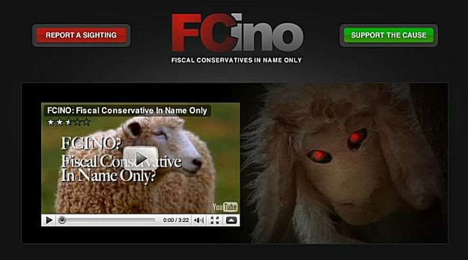 A screen grab of the advertisement released by Senate candidate Carly Fiorina, which features visuals of a man in a sheep costume with a flock of sheep and calls Republican rival Tom Campbell a conservative in name only. Photo: Fcino.com