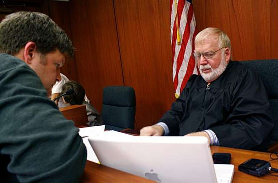 Co-producer John Ireland, left, discusses a scene with actor Theodore Heyck, who portrays Judge Walker, right. Production stills from the marriagetrial.com video re-enactment of the Prop. 8 trial which is based on trial transcripts. Photo: JD DiSalvatore, MarriageTrial.com