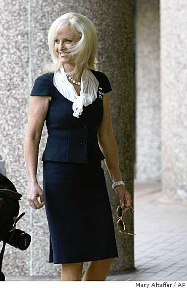 Cindy McCain arrives at her husband Republican presidential candidate, Sen. John McCain, R-Ariz., campaign headquarters, Saturday, Aug. 2, 2008, in Washington.  (AP Photo/Mary Altaffer) Photo: Mary Altaffer, AP