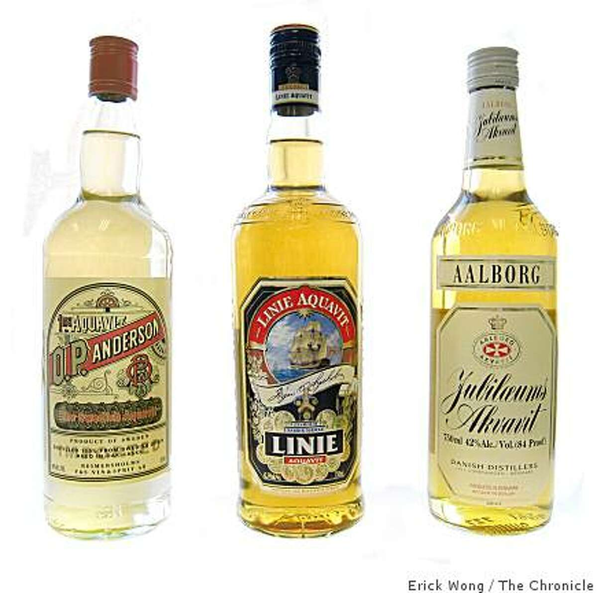 From left, aquavits from Scandinavia: O.P. Anderson from Sweden; Linie Aquavit from Norway; Jubiloeums Akvavit from Denmark.