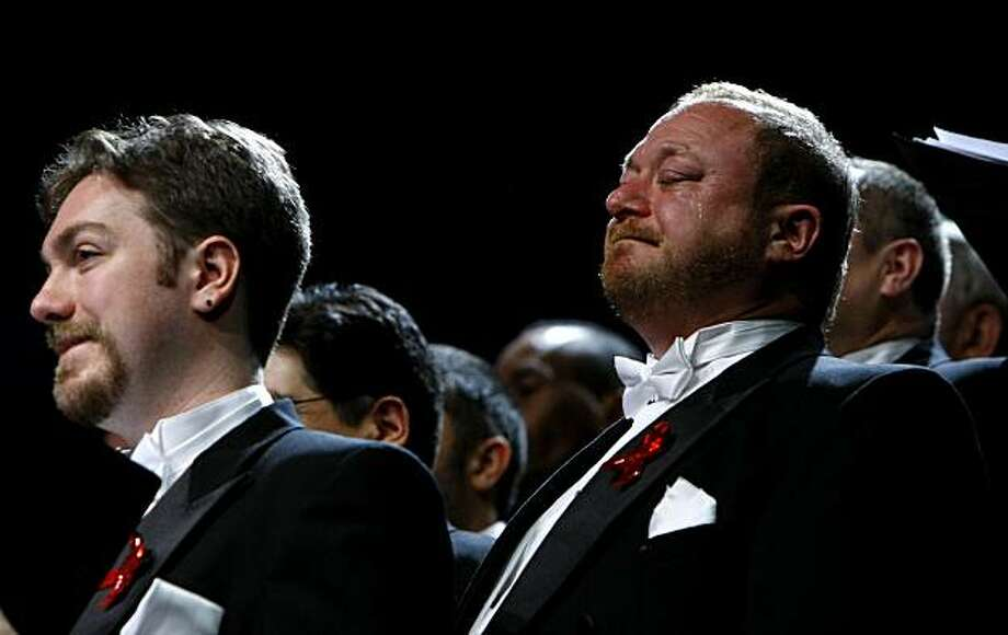 """Marc Savitt, tries to fight back the tears as he sings""""Michael's Letter to Mama"""" with The San Francisco Gay Men's Chorus during the Freedom Tour, Sunday Jan.31 2010, in Chico, Calif.  Michael's Letter to Mama is from Armistead Mauphin's, Tales of Two Cities. Photo: Lacy Atkins, The Chronicle"""