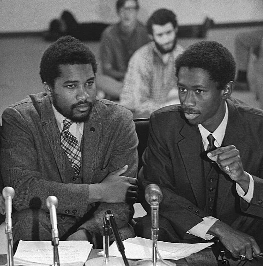 BSU_01.jpg  1967 - San Francisco State Black Student Union members (left to right) Tom Williams, Jerry Varnado and Jim Garrett.1967 - San Francisco State Black Student Union leaders (left to right) Jerry Varnado and Jim Garrett. Photo: Art Frisch, 1967, The Chronicle
