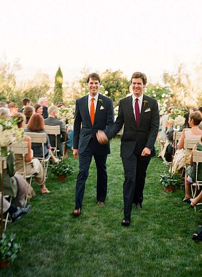 Tom Dolby and Drew Frist walk the aisle at their Sonoma wedding Photo: Meg Smith, Special To The Chronicle