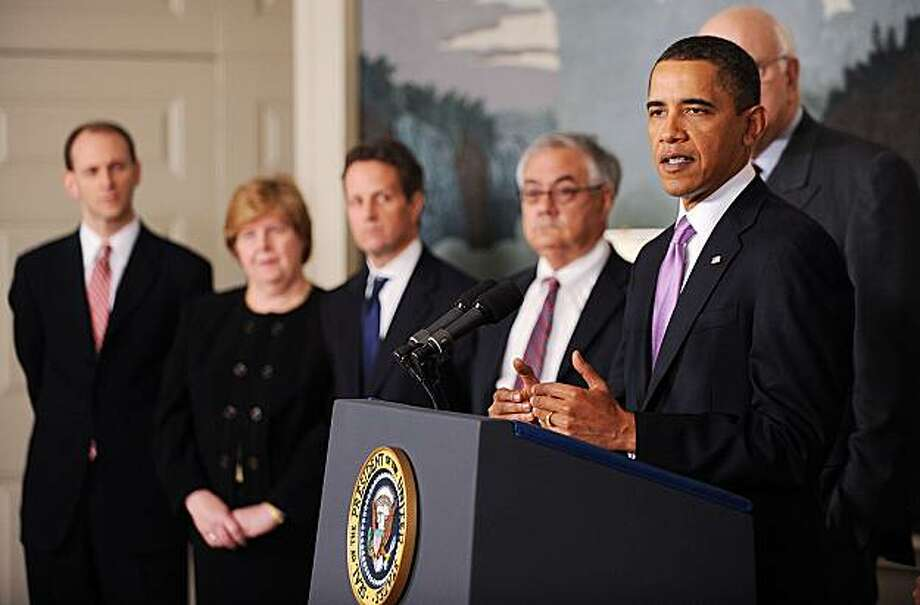 WASHINGTON - JANUARY 21:  President Barack Obama delivers remarks on financial reform as U.S. Treasury Secretary Timothy Geitner (3rd-L), Chair of the Council of Economic Advisors Christina Romer (2nd-L) and U.S. Rep. Barney Frank (D-MA) (4th-L) look on in the Diplomatic Reception Room on January 21, 2010 in Washington, DC. Obama announced measures to narrow the size and scope of banks and their investment activities. Photo: Pool, Getty Images
