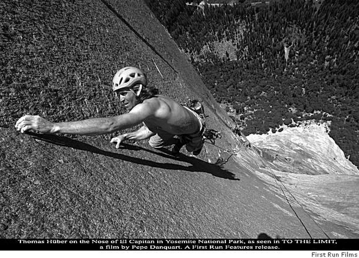 Thomas Huber on the nose of El Capitan in Yosemite National park, as seen in TO THE LIMIT, a film by Pepe Danquart.Thomas Huber as seen in TO THE LIMIT, a film by Pepe Danquart. A First Run Features release.