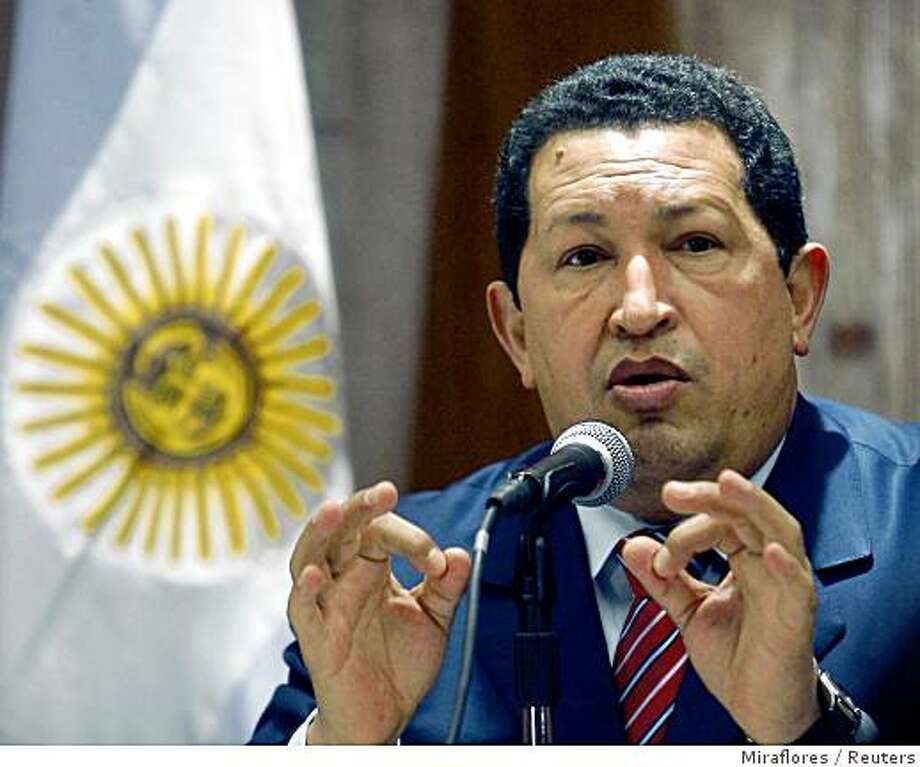 Venezuela's President Hugo Chavez gives a news conference in Buenos Aires August 5, 2008. The leader of Venezuela, Chavez, and Argentina, Cristina Fernandez de Kirchner, cancelled a trip to Bolivia on Tuesday after two people were killed and many were injured during protests across the country before a recall vote facing President Evo Morales. Dozens of protesters tried to storm the main airport in Tarija in southern Bolivia, forcing Chavez and Fernandez to call off a trip to the area, which is rich in natural gas, for energy talks with Morales. REUTERS/Miraflores/Handout (ARGENTINA).  FOR EDITORIAL USE ONLY. NOT FOR SALE FOR MARKETING OR ADVERTISING CAMPAIGNS. Photo: Miraflores, Reuters