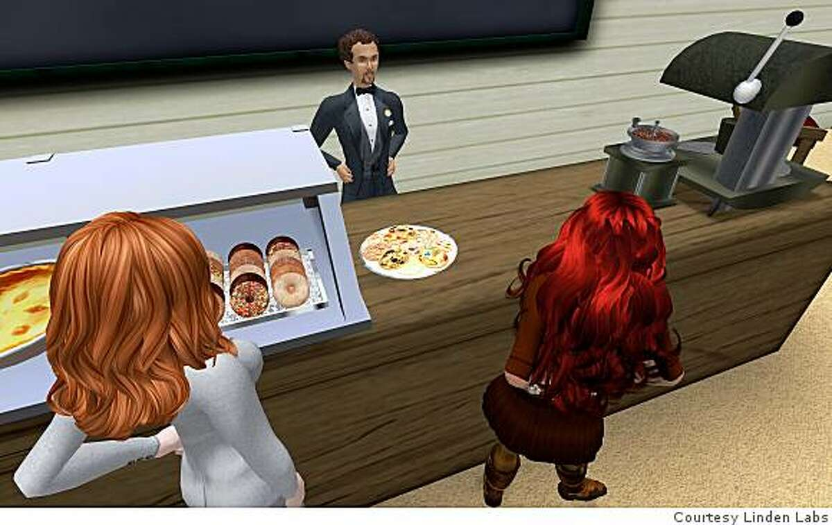 """Second Life avatars, or online characters, interact over food at NMC. The 'New Media Consortium' is an area of the online game """"Second Life"""" which promotes education through the video game."""