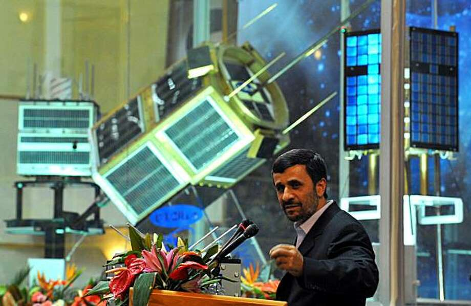 Iranian President Mahmoud Ahmadinejad speaks during the unveiling ceremony of new satellite rockets in Tehran on February 3, 2010. Iran hailed the successful launch of Kavoshgar 3 (Explorer) home-produced satellite rocket amid Western concerns it is usingits nuclear and space industries to develop atomic and ballistic weapons. Photo: Rohollah Vahdati, AFP/Getty Images