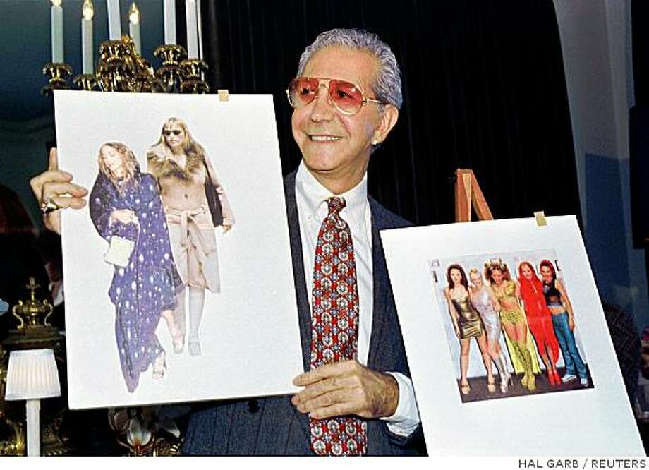 "Fashion and style commentator ""Mr. Blackwell,"" best known for his ""Worst Dressed List,"" displays photos of Madonna (L) and The Spice Girls (R) during a news conference to announce his 38th annual Worst Dressed Women list in this file photo from January 13, 1998. The fashion maven whose ""Worst-Dressed "" list can be the bane of Hollywood celebrities, was hospitalized and in a coma after falling at his home, his partner and manager said on August 7, 2008. REUTERS/Hal Garb/Files  (UNITED STATES) Photo: HAL GARB, REUTERS"