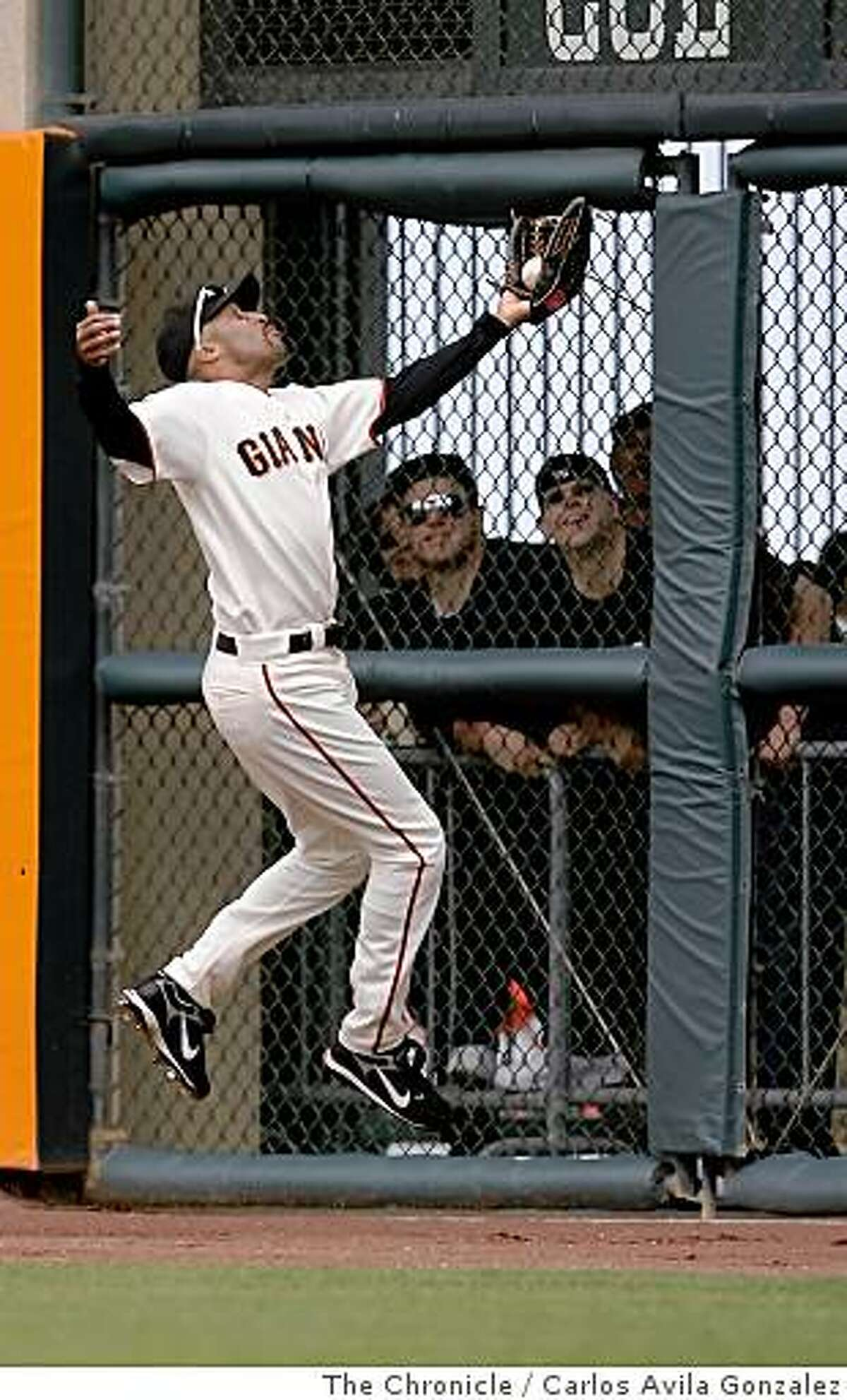 Randy Winn makes a catch in the top of the eighth inning to end the inning. The San Francisco Giants played the Milwaukee Brewers at AT&T Park in San Francisco, Calif., on Sunday, July 20, 2008, losing, 7-4 and were swept in the three game series.Photo by Carlos Avila Gonzalez / The Chronicle