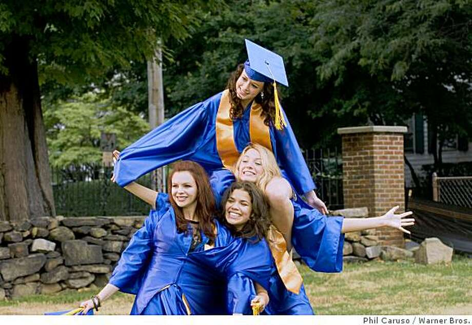 (Clockwise from top) ALEXIS BLEDEL as Lena, BLAKE LIVELY as Bridget, AMERICA FERRERA as Carmen and AMBER TAMBLYN as Tibby in Alcon Entertainment?s drama ?The Sisterhood of the Traveling Pants 2,? distributed by Warner Bros. Pictures. Photo: Phil Caruso, Warner Bros.