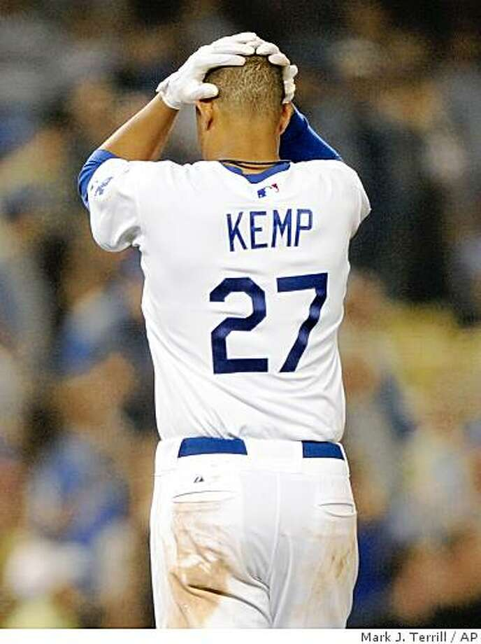 Los Angeles Dodgers center fielder Matt Kemp reacts to a teammate being thrown out at home to end the eighth inning of their Major League Baseball game against the Arizona Diamondbacks, Thursday, July 31, 2008, in Los Angeles. The Diamondbacks won the game 2-1. (AP Photo/Mark J. Terrill) Photo: Mark J. Terrill, AP