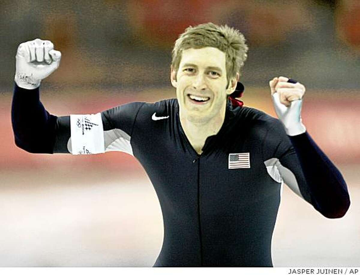 United States Joey Cheek, from Greensboro, N.C., celebrates his silver medal victory during the Winter Olympics men's 1,000 meter speedskating competition at the Oval Lingotto in Turin, Italy, Saturday, Feb. 18, 2006. (AP Photo/Jasper Juinen)Ran on: 03-05-2006 Joey Cheek, shown celebrating his silver medal at the Winter Olympics, donated his $40,000 winnings to the refugee cause.