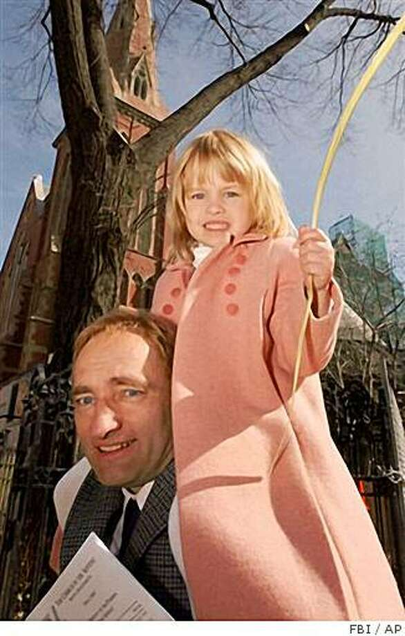 In this undated photo provided by the FBI, Clark Rockefeller carries his daughter Reigh on his shoulders. Clark Rockefeller, accused of kidnapping his 7-year-old daughter during a supervised visit in Boston last weekend was arrested Saturday, Aug. 2, 2008 in Baltimore and the girl was found safe, authorities said. (AP Photo/FBI) **NO SALES** Photo: FBI, AP