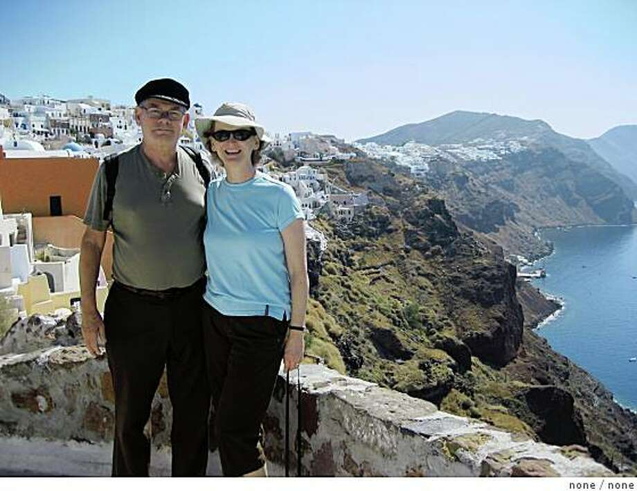 justback Subject: Just Back From... Santorini, GreeceAndy and Roberta Carr, NovatoEmail: acrrcarr@yahoo.comDaytime phone number: 415.897.9708Just back from: Santorini, GreeceI went because: To celebrate Andy's 73rd birthday in a very special place.Don't miss: Visiting the quaint town of Oia on the Island of Thira.  It is quiet, romantic, and picturesque.Don't bother: Bringing a watch.  On the island, time becomes meaningless and you move with the day.Coolest souvenir: Our memory of a donkey ride taking us from on top of the island, down to the water.  It was an interesting experience.Worth a splurge: Wine tasting.  We especially enjoyed the sweet red wine from the region.I wish I'd packed: Binoculars so we could see parts of the Island we didn't visit.Other comments: Santorini was one stop on a 10 day Mediterranean cruise, and it was our favorite spot.Details of attached photo (if sent): Andy and Roberta in the hillside town of Oia. Photo: None