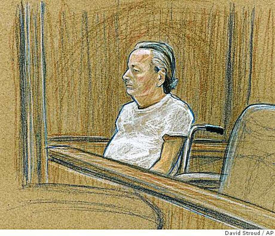 ** FILE ** In this courtroom sketch, Roger Bergendorff, who has been charged with possession of a biological toxin and two weapons violations, appears in federal court in a wheelchair on April 16, 2008, in Las Vegas. The 57-year-old Bergendorff is expected to plead guilty Monday, Aug. 4, 3008, to federal charges before U.S. District Judge Robert C. Jones in Las Vegas. (AP Photo/Las Vegas Review-Journal, David Stroud) Photo: David Stroud, AP
