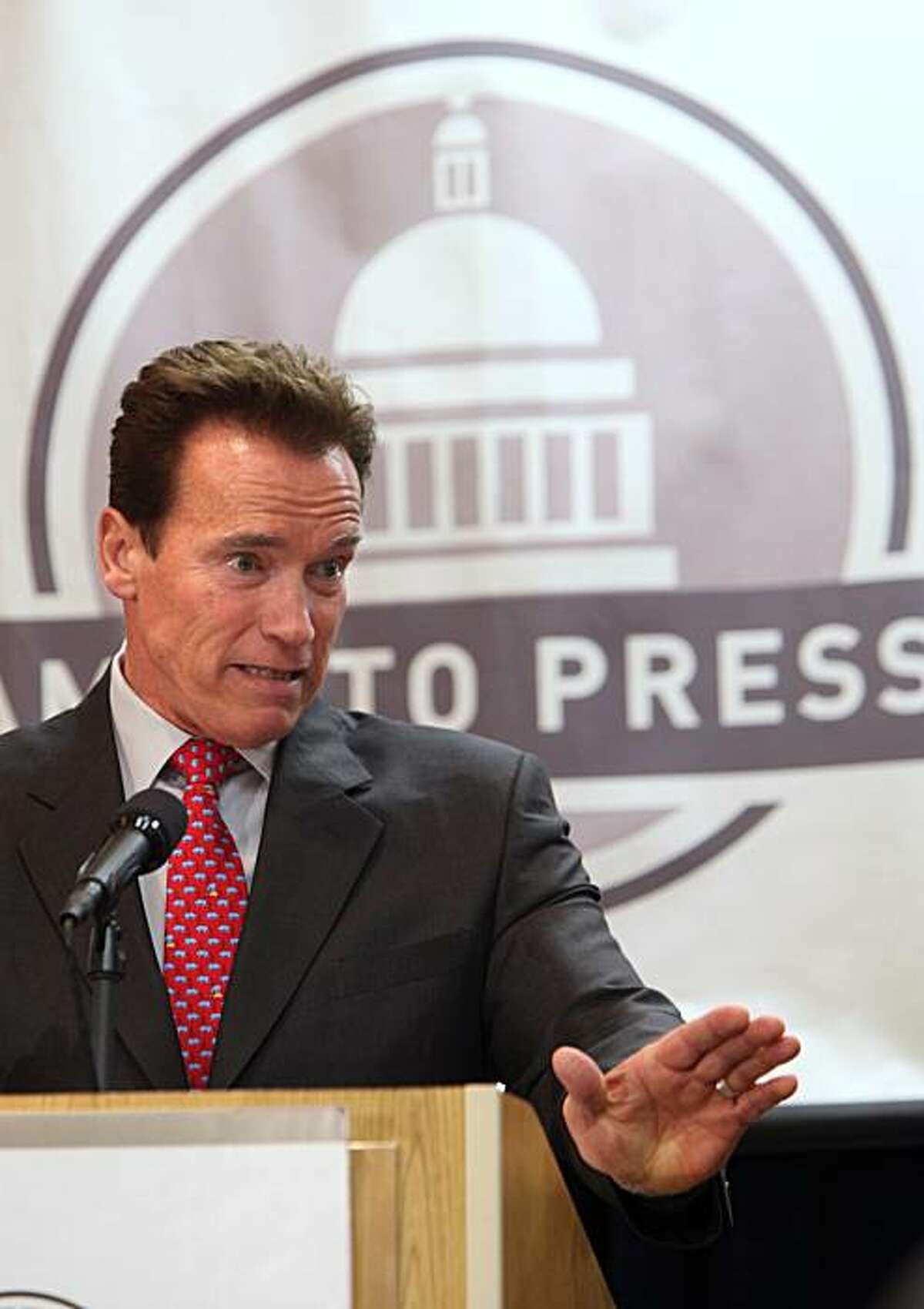 Gov. Arnold Schwarzenegger speaks at the Sacramento Press Club in Sacramento, Calif., Monday, Jan. 25, 2010. Schwarzenegger says he doesn't blame Californians for believing that the state will be worse off when he leaves office than when he started. A newField Poll release Sunday found that Schwarzenegger has just a 27 percent approval rating among registered voters, and lawmakers have an even worse rate of 16 percent.