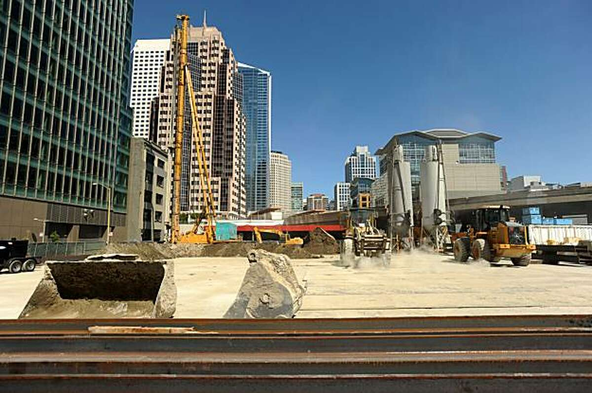 Work continues at the proposed Transbay Terminal site on Saturday, Sept. 18, 2009, in San Francisco.