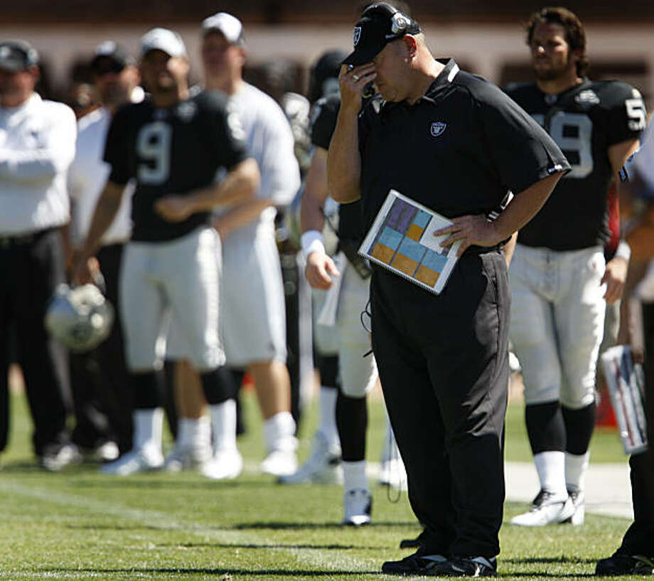 Head Coach Tom Cable couldn't watch another New Orleans touchdown in second quarter of the Oakland Raiders vs. New Orleans pre-season football game at the Coliseum in Oakland, Calif., on Saturday, Aug. 29, 2009. Photo: Paul Chinn, The Chronicle