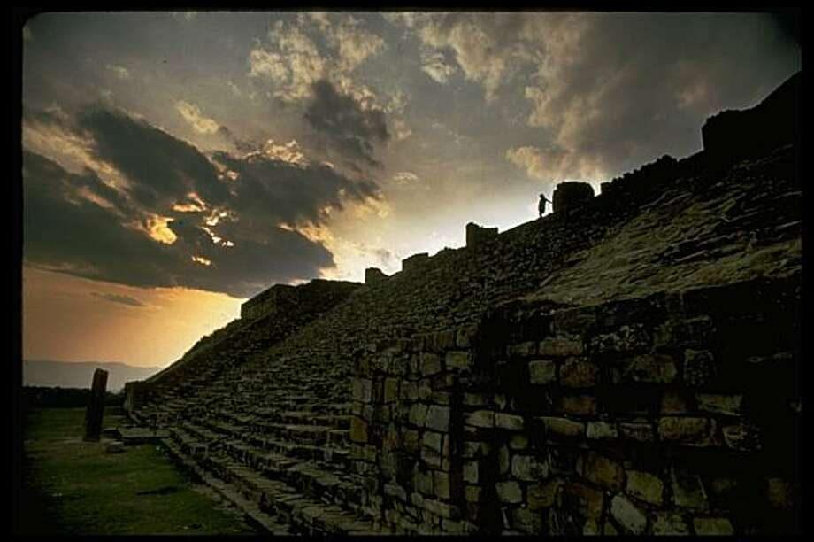 Sloped wall w. steps at ruined Zapotec city of Monte Alban, Mexico. Photo: John Bryson, Time & Life Pictures/Getty Image