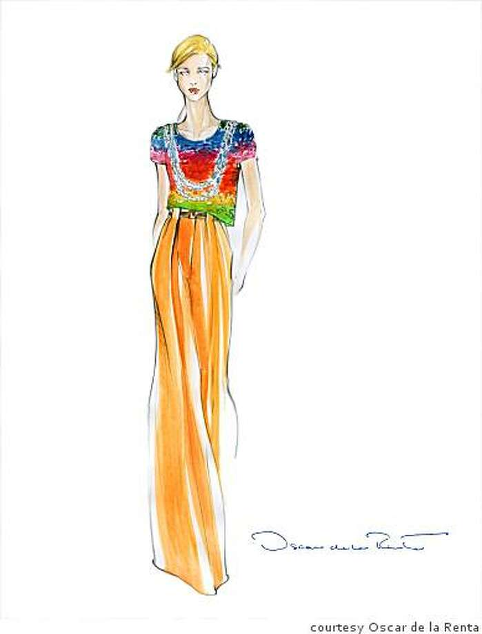 Multicolored top with built in necklace and wide leg pant by Oscar de a Renta for his Reosrt 2009 collection, part of the de la Renta trunk show at Saks in August Photo: Courtesy Oscar De La Renta