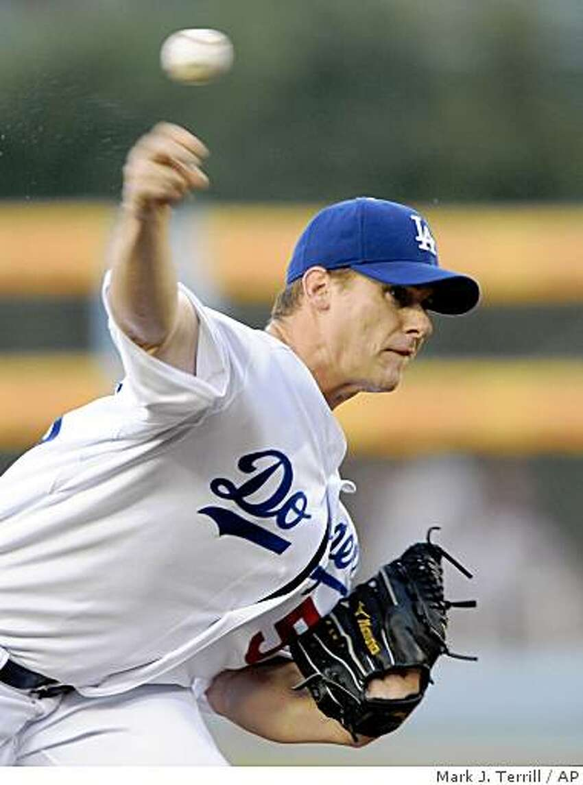 Los Angeles Dodgers starting pitcher Chad Billingsley throws to the plate during the first inning of a Major League Baseball game against the San Francisco Giants, Wednesday, July 30, 2008, in Los Angeles. (AP Photo/Mark J. Terrill)