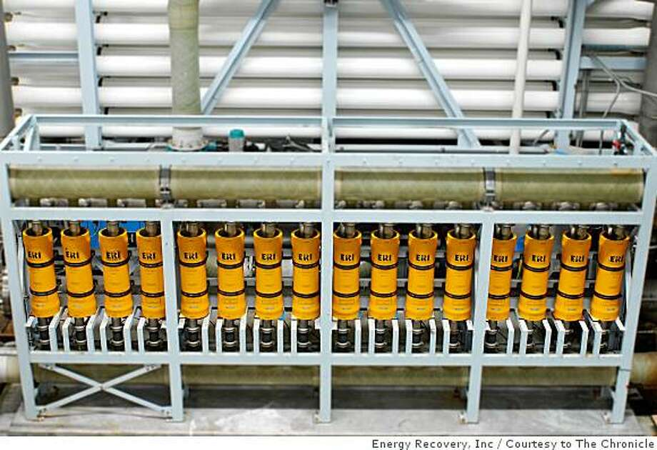 Energy Recovery of San Leandro developed the upright pumps to recycle energy and reduce costs at the desalination plant in Perth Australia. Energy Recovery, Inc / Courtesy to The Chronicle Photo: Energy Recovery, Inc, Courtesy To The Chronicle