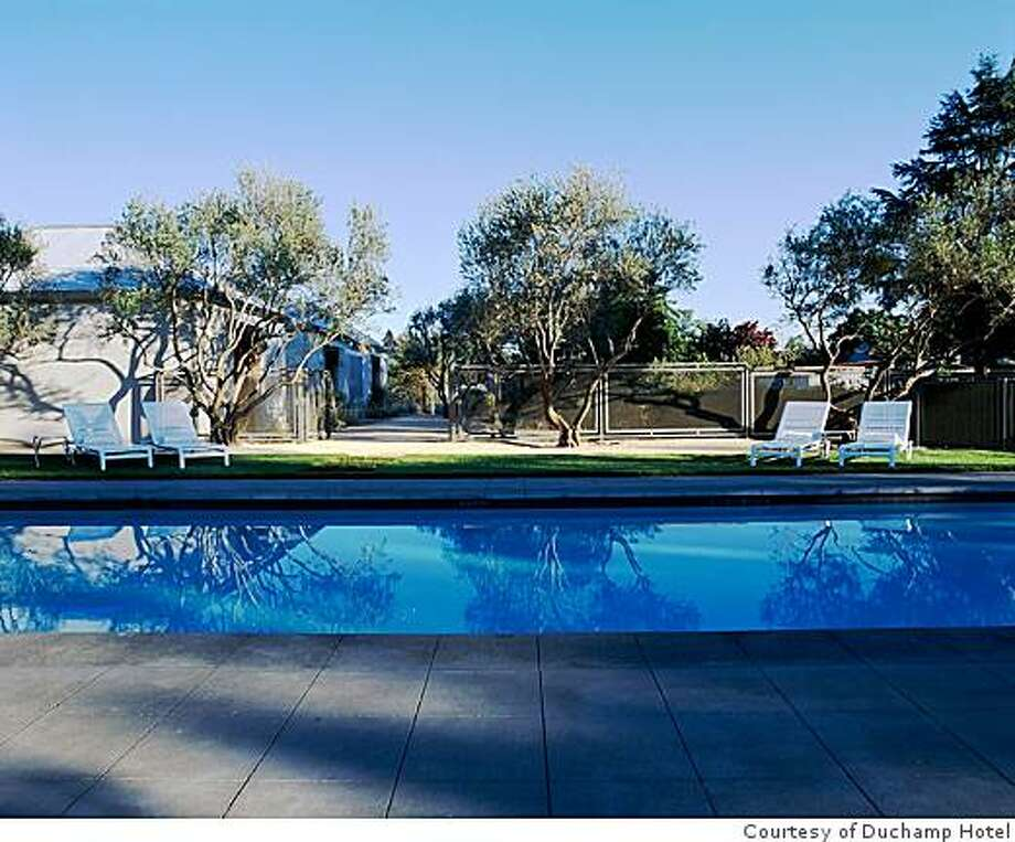 A view of the pool at the Duchamp Hotel in Healdsburg, CA Photo: Courtesy Of Duchamp Hotel