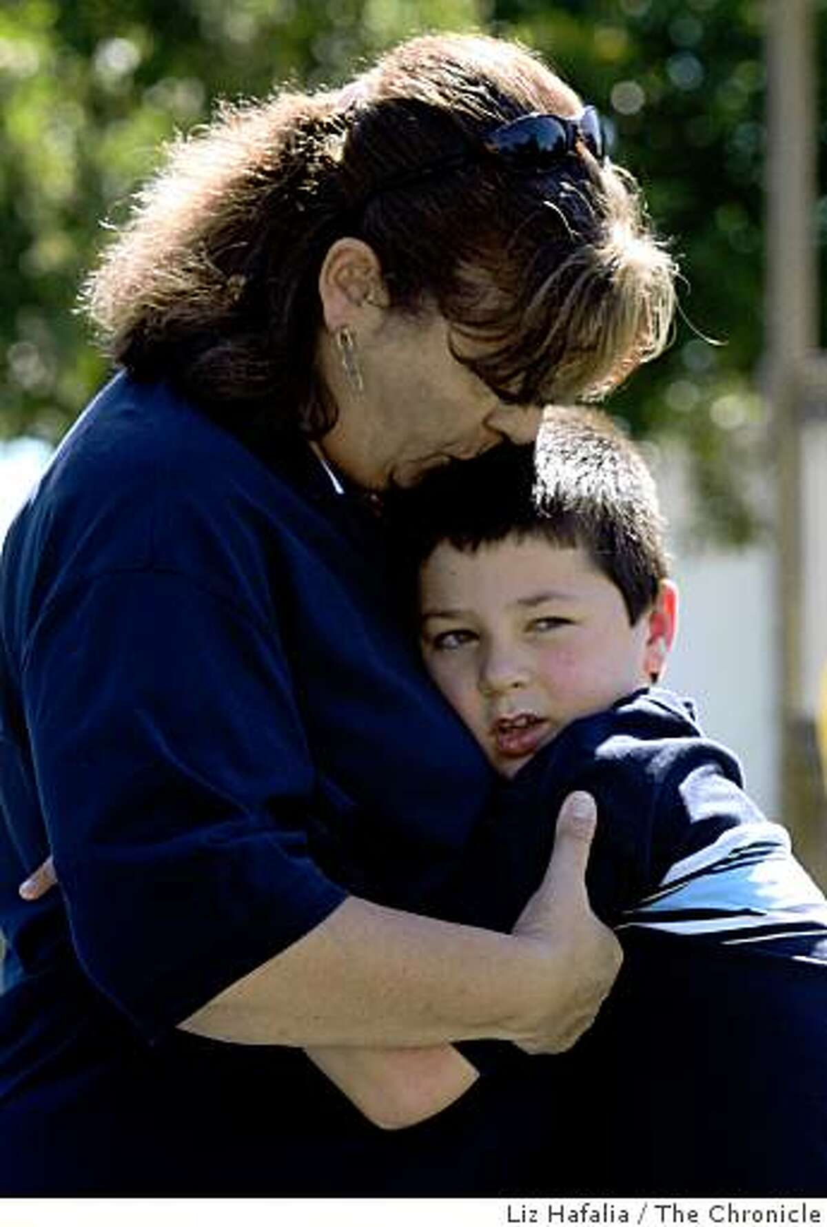 Yuri Malboeuf, a disabled Concord mother, has two children with autism and is at the neighborhood park with her 7 year old son Michael Malboeuf in Concord, Calif., on Friday, August 1, 2008.Photo by Liz Hafalia/The Chronicle
