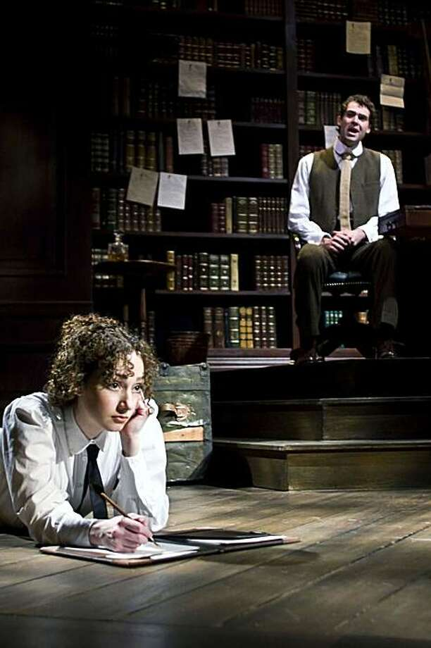 """Jerusha (Megan McGinnis) doesn't know the identity of her wealthy benefactor Jervis Pendleton (Robert Adelman Hancock) in John Caird and Paul Gordon's """"Daddy Long Legs"""" Photo: Tracy Martin, TheatreWorks"""